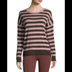 Rag & Bone Pink Glitter Striped Sweater